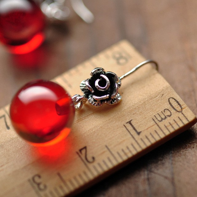MetJakt Natural Garnet Drop Earrings Solid 925 Sterling Silver Vintage Beautiful Rose Earrings for Women's Fine Jewelry