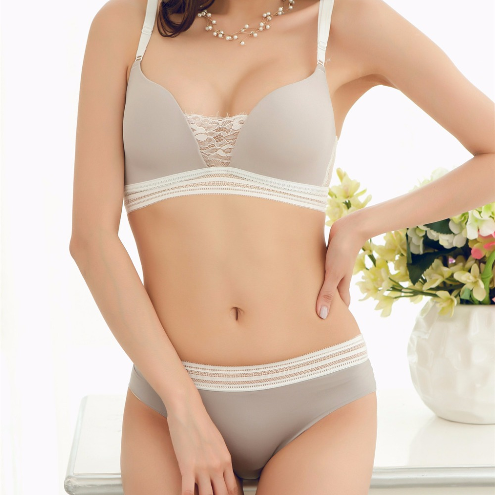 MINGMO 2018 New Japanese Bra Set Lingerie Set Wire Free Lace Push Up Lingerie Set Sexy Smooth Women Underwear Bra & Brief Sets