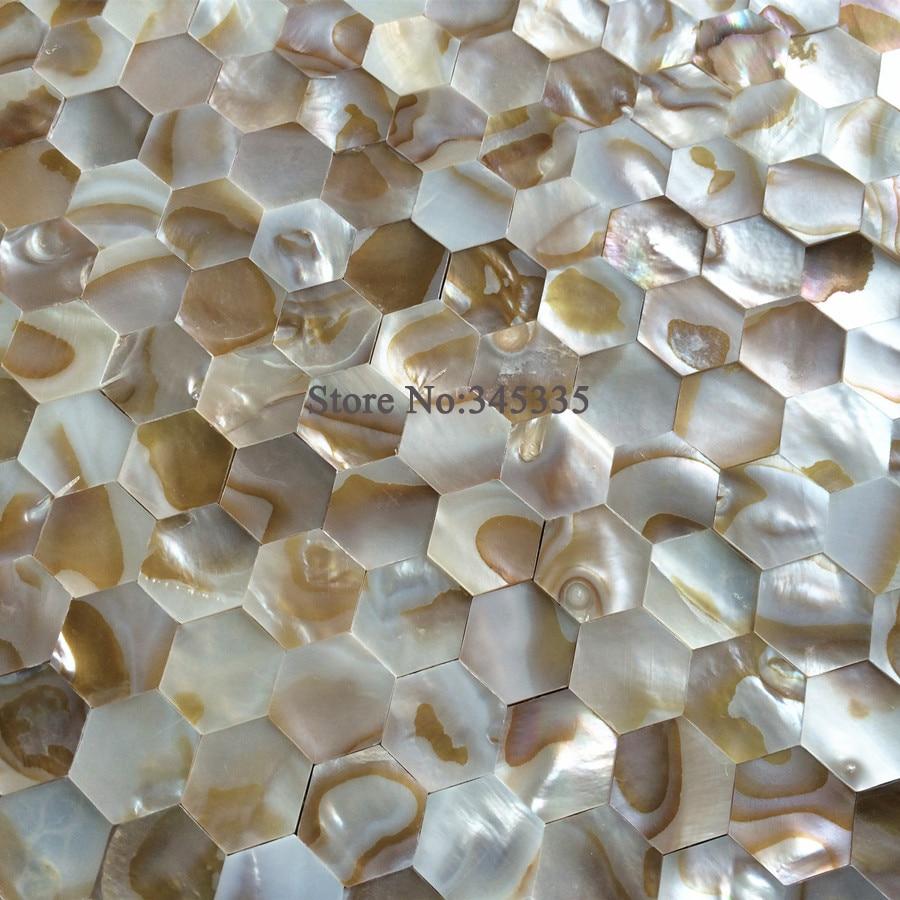 natürliche hexagon shell mosaik fliesen perlmutt küche backsplash