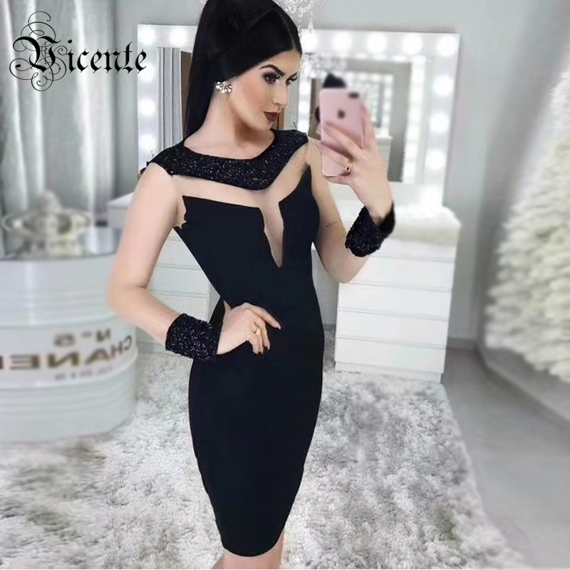 Vicente HOT Chic Black Beads Mini Dress Long Sleeves Sexy Sheer Mesh Splicing Wholesale Celebrity Party Wear Bandage Dress