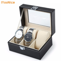 Hot Koop PU Leer 3 Grids Horloge Case Sieraden organizer Met Horloge Display Storage Case Geschenkdoos Hoge Kwaliteit