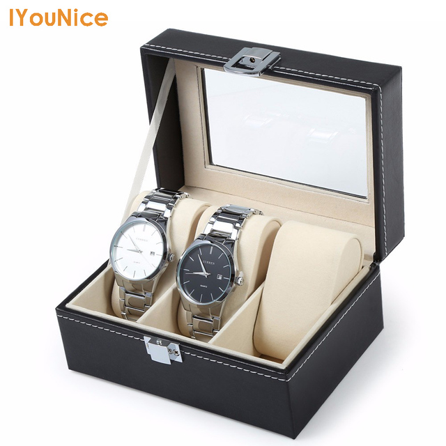 Hot Sale PU Leather 3 Grids Watch Case Jewelry organizer With