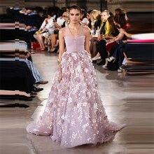 Новое поступление, Жорж Хобейка, 3D Цветы, платья знаменитостей, роскошные бусины, темно-розовый цвет, элегантное вечернее платье на выпускной, сексуальное красное ковровое платье