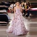Nova Chegada Georges Hobeika 3D Flores Vestidos de Celebridades Luxo Beads Rosa Escuro Elegante Vestido Sexy Vestido de Noite do baile de Finalistas Vestido Do Tapete Vermelho