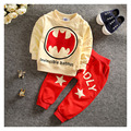 Children's clothing 2016 spring and autumn children / two pieces / sets 0-3 years old boy fashion cartoon bat fashion design new
