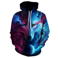 Wolf 3D Print Hoodies Sweatshirts Men Fashion American Flag Hooded Sweats Tops Hip Hop Unisex Graphic