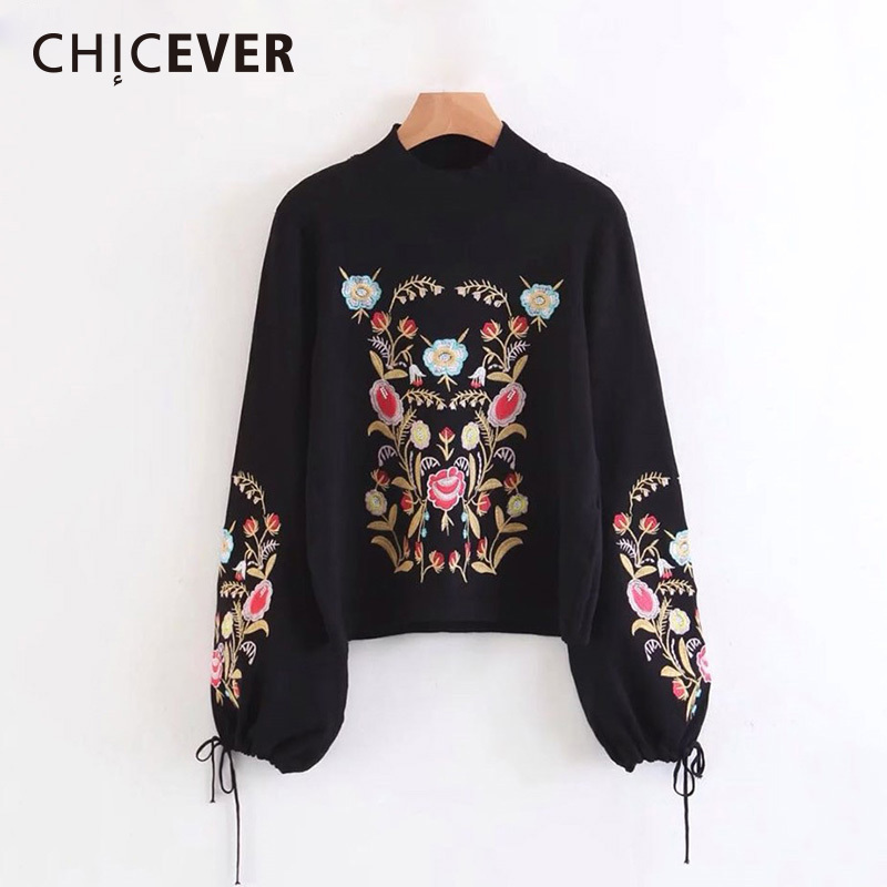 CHICEVER Embroidery Lace Up Knitted Sweater Women Autumn Winter Long Sleeve Big Size Black Female Jumpers Casual Korean Clothing