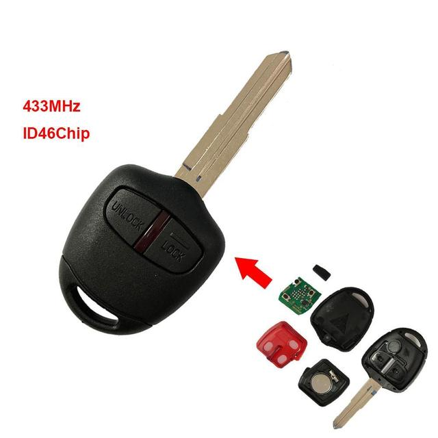 2-button Remote Control Key 433MHZ ID46 Chip for Mitsubishi L200 Shogun After 2006 with Battery