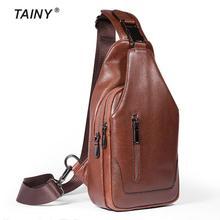 Tainy 2017 Männer Brust Pack Rucksack Leder Reise Männer Crossbody Taschen Vintage Brust Tasche