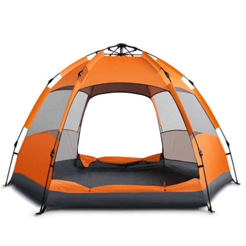 Ulepszone szybkie otwieranie automatyczny namiot mongolski 3-5/5-7 osoba anty UV oddzielona podwójna warstwa wodoodporna sześciokątna jurta namiot kempingowy