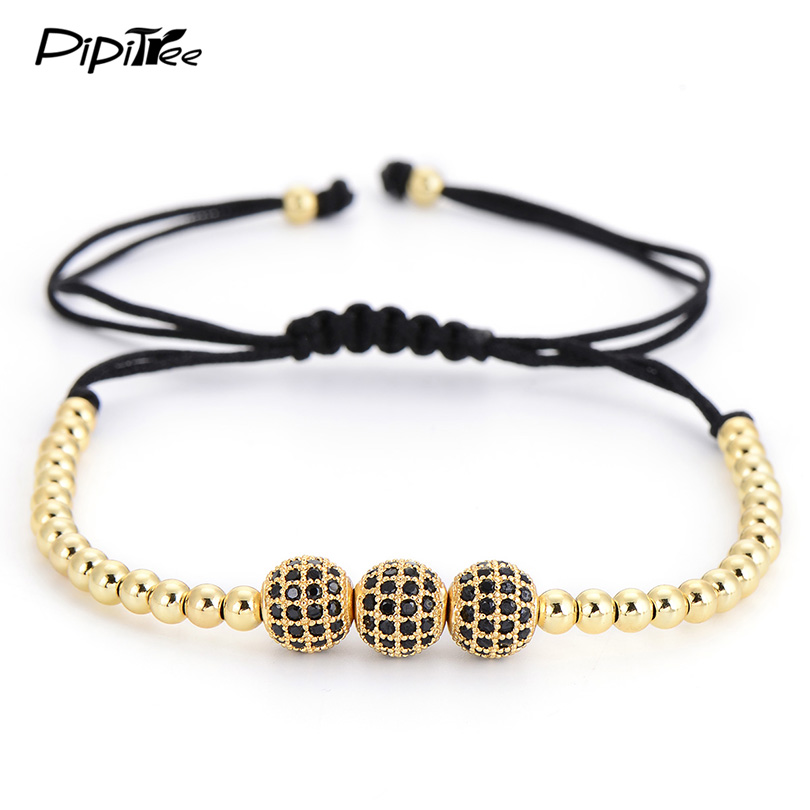 New Brand 18K Rose Gold Plated Anil Arjandas Bracelets For Women  Fashion 8mm Micro Pave Black CZ Beads Briad Macrame Bracelet  Браслет