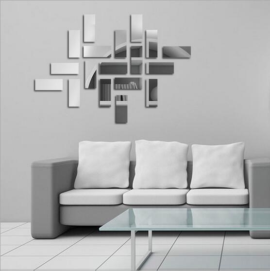 18 PC Retangular Espelhado BAR Adesivo Acrílico 3d Decoração Da Parede Modern  Design De Interiores Para