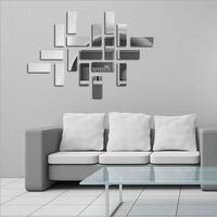 18PC Rectangular Mirrored BAR Sticker Acrylic 3d Wall Decoration Modern Interior Design for Living Room Bedroom Free Shipping