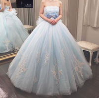 Newest Wedding Gowns 2018 Strapless Ball Gown Tulle Light Blue Wedding Dress Lace Appliques Dress With Detachable Train