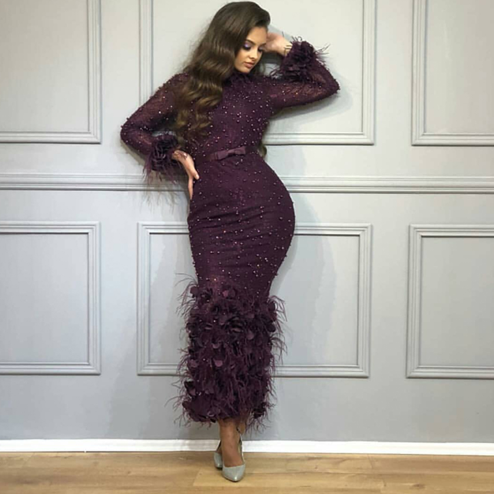 Burgundy Prom Dresses 2019 High Neck Beading Sequins Feather Sheath Ankle Length Sheath Long Sleeve Evening Dresses Arabic