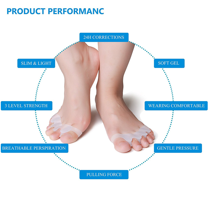 Tcare 1Pair Gel Toe Separator Rubber Toe Stretchers Toe Spacers Used for Cushioning and Relieve Bunion Pain Toe Straightener 3