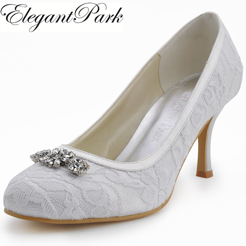 Woman Shoes EP2036 Round Toe Rhinestone Spool High Heel Lace Shoes for Women  Wedding Pumps Lady Bride Wedding Shoes 986f2ded0fe7