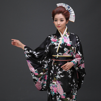In one Pinji peacock flower pattern Japan long kimono dress female improved traditional kimono bathrobes and MS.
