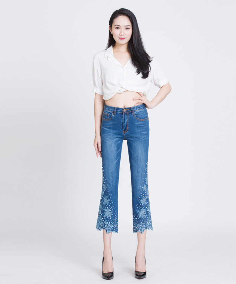 KSTUN Embroidered Denim Jeans Women Seuuined Beaded Ruffles Flared Pants Bell Bottoms Blue Stretch Summer Cropped Trousers Large 13