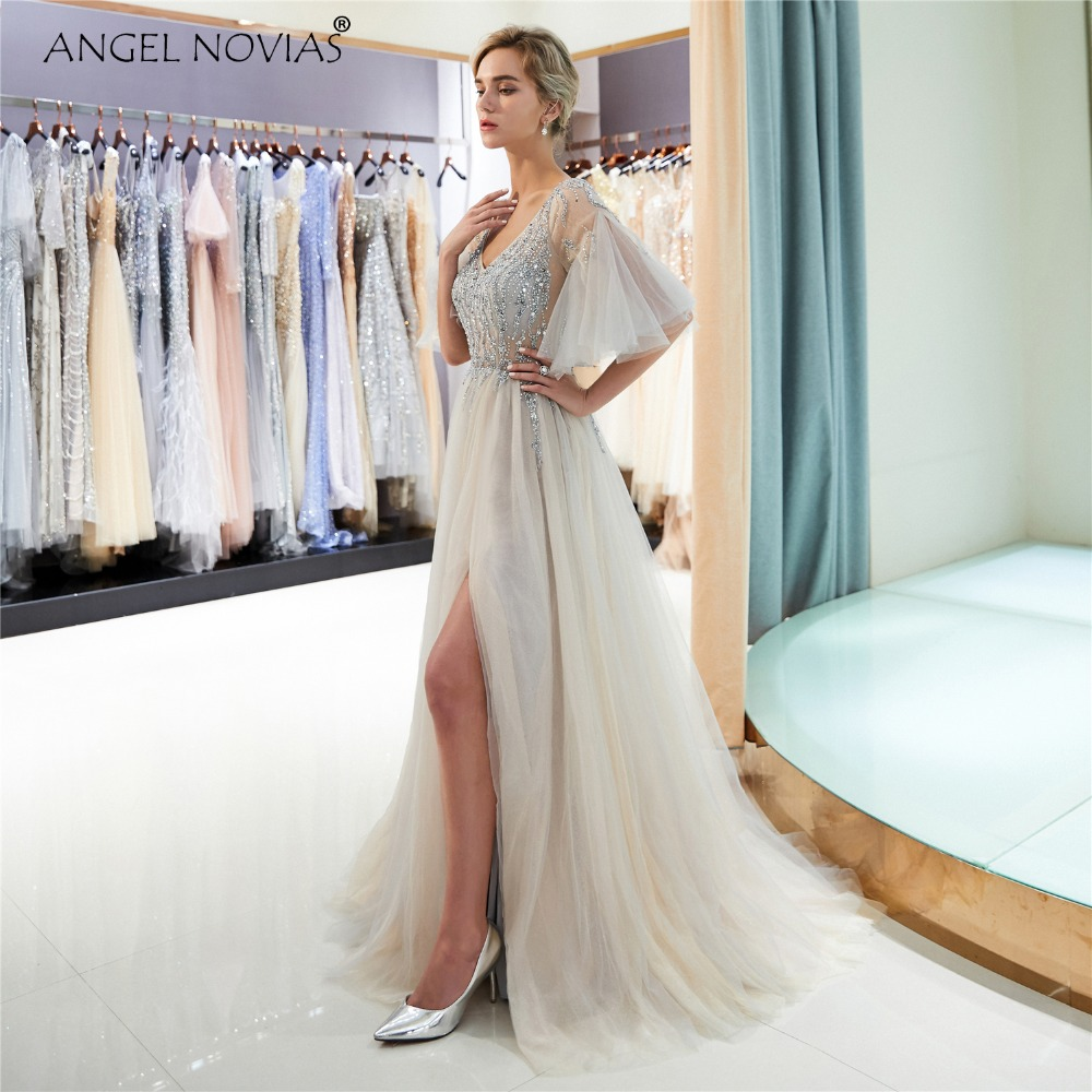 ANGEL NOVIAS Long Champagne Pink Elegant Tulle Prom Dress 2018 with Glitter  Crystals Vestidos De Egresadas Largos-in Prom Dresses from Weddings   Events  on ... a5f20a22f7a0