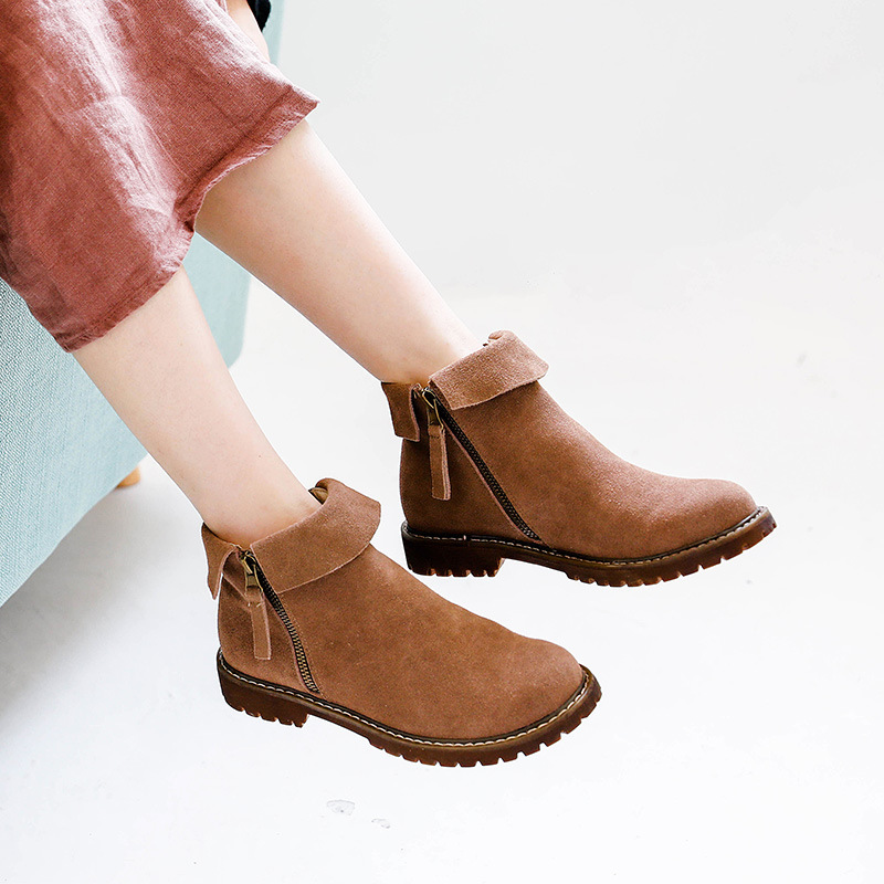 Women Winter Boots Genuine Leather Kid Suede Female Shoes Warm Wool Inside Wide Boots Snow Botas for Woman Wide Feet Shoes