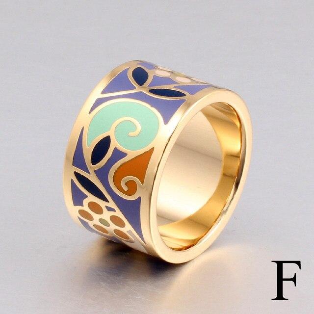 line Shop New Arrival Flower Enamel Ring Gold color Geometric