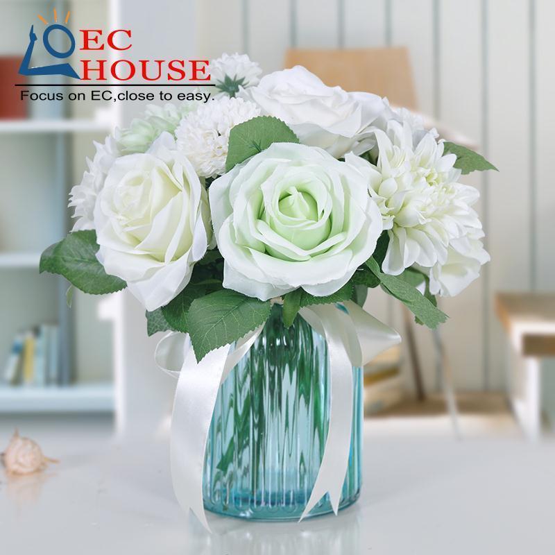 la rosa flores de la simulacin de la flor saln decoracin de la mesa florero floral