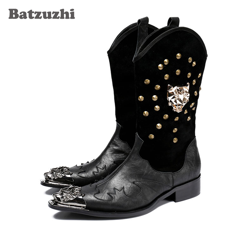 2018 New Men Boot Punk Military Combat Men's Leather Boots Desert Biker Motorcycle Rock Boots Black Plus Size US12 Cowboy Boots