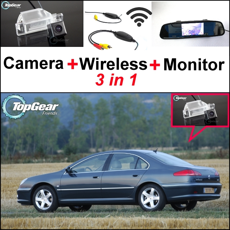 3 in1 Special Rear View Camera + Wireless Receiver + Mirror Monitor DIY Back Up Parking System For Peugeot 607 806 807 wireless receiver mirror monitor diy back up parking system for toyota sportsvan 3 in1 special rear view camera