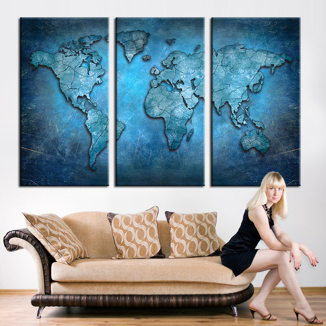 Beautiful New Arrival Modular Large Triptych Wall Art Canvas World Map Abstract Dark  Blue Global Lineament Print