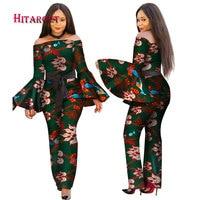2019 African Print Women Jumpsuit Slash Neck Long Horn Sleeve Sexy Romper Wide Leg Pants African Ladies Jumpsuits Rompers WY2634
