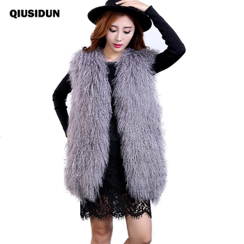 QIUSIDUN 女性本物のシープスキンのベストレディース子羊毛皮のベストリアルピンクノースリーブナチュラル大サイズ羊冬モンゴル 2017
