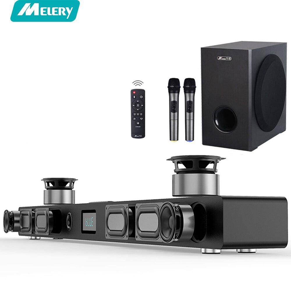 Звуковая панель телевизора A9K 60 W и S5 проводной сабвуфер с двойной Беспроводной микрофон для ТВ домашнего кинотеатра музыка Системы бас Дина