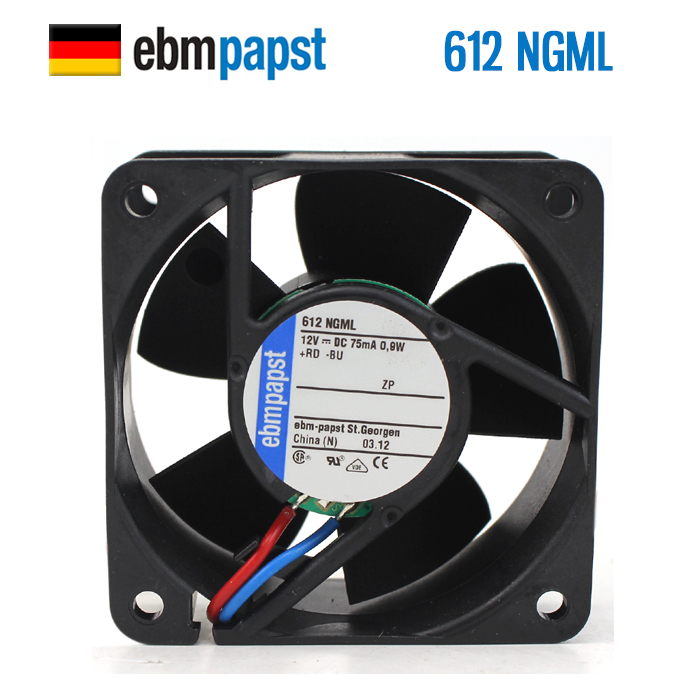 NEW ebmpapst PAPST 612NGML 6025 12V 0.9W 6CM Axial cooling fanNEW ebmpapst PAPST 612NGML 6025 12V 0.9W 6CM Axial cooling fan
