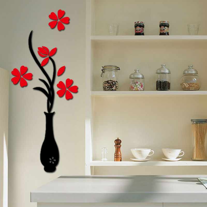 Wall Decor 3d decal wall picture - more detailed picture about vase plum flower