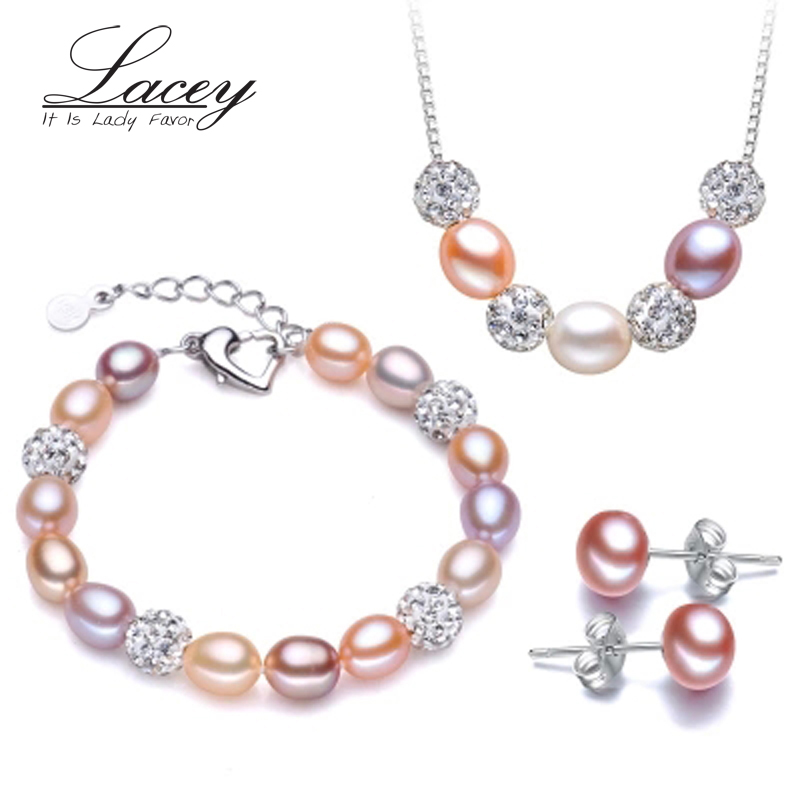 Wedding freshwater pearl jewelry sets women,multi natural pearl jewelry 925 sterling silver girlfriend mom birthday best gift