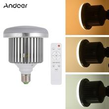 Andoer E27 50 واط LED صور استوديو ضوء لمبة مصباح سطوع قابل للتعديل 3200 كيلو ~ 5600 كيلو واط/التحكم عن بعد الفيديو ضوء لمبة AC185 245V
