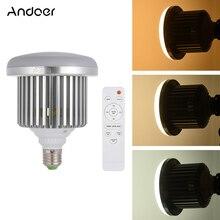 Andoer e27 50 w led photo studio lâmpada de luz ajustável brilho 3200 k ~ 5600 k w/controle remoto vídeo lâmpada AC185 245V