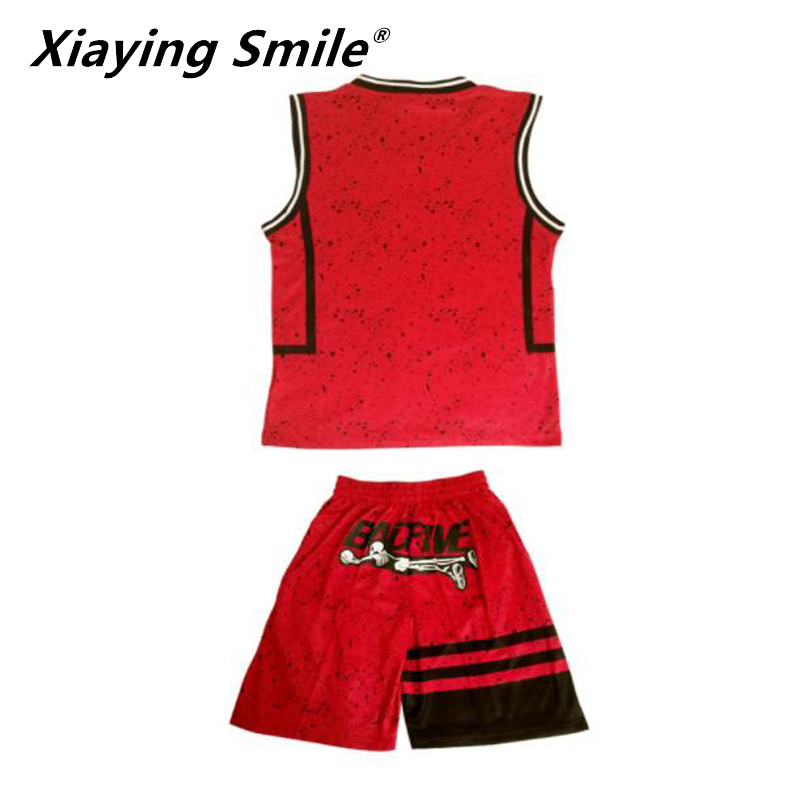 Kinder basketball sets jungen blank basketball trikots jugend sport kits kinder laufen uniformen V-ausschnitt können jede logos