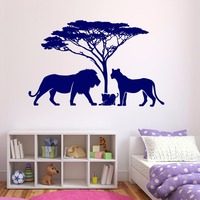 New arrival African landscape happy lions family Vinyl Wall Decal Home Decor Bedroom Art Mural Wall Stickers