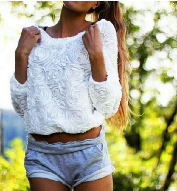2016 New Arrival Womens Casual White Round Neck Long Sleeve Flower Loose T-Shirt Tops Free Shipping