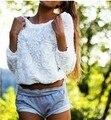 2016 Recién Llegado de Womens Casual Cuello Redondo Blanco Flor de la Manga Larga Camiseta Floja Tops Envío Gratis