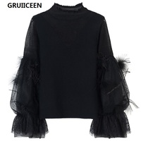 GRUIICEEN Autumn Elegant Sweater Women Mesh Patchwork Lace and feathers lantern long sleeve knitted sweaters and pullovers tops