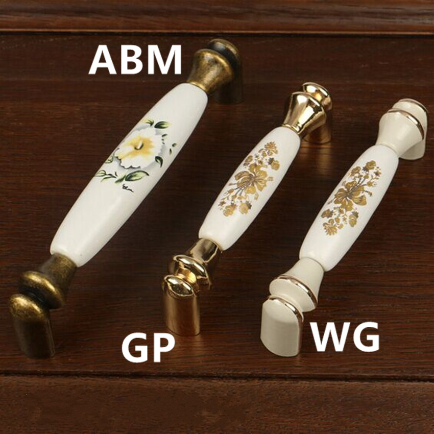 128mm Bronze rural cermic kitchen cabinet handles 96mm gold drawer pulls knobs ivory white dresser cupboard door handles Vintage