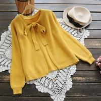 Autumn Spring Cardigan Women Korean Bow O Neck Knitted Cardigan Feminino Ladies Long Sleeve Loose Solid