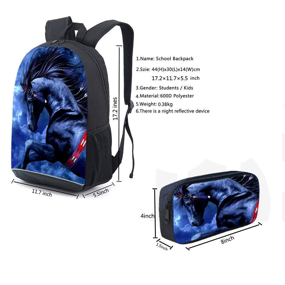 Купить с кэшбэком Newest Design Brown Horse Animal School Bags For Primary 2PCS/Set Backpack Pencil Case For Children Mochilas Bookbags