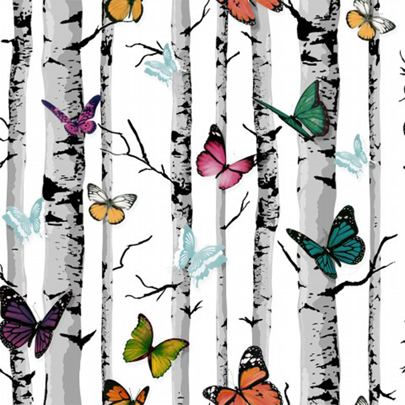 Butterfly Forest Wallpaper Roll Decor Black and White Trees Backdrops 53cmX10m flame trees of thika