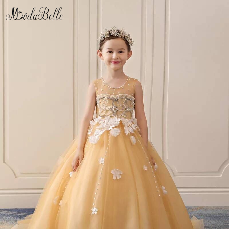 Modabelle Comunion   Dresses   Jewel Lace Applique 3D   Flower   Sleeveless   Flower     Girl     Dresses   Little   Girl   Pageant   Dresses