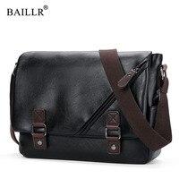 BAILLR Brand Fashion Pu Leather Mans Bag Vintage Zipper Men Messenger Bags Casual Shoulder Crossbody Bag