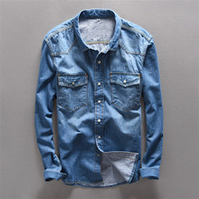 New Brand Mens Top Quality Casual Blue Linen Denim Shirts Male Cotton Fashion Slim Fit Jeans